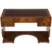 English Antique Style Art Deco Leather Top Writing Desk Library Office Table