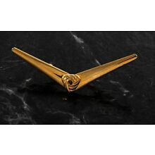 Collar Bar Stay V Double Clip Knot Gold Plated Brass Metal NOS Men's Jewelry Nos
