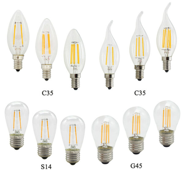 Dimmable E14 E27 LED Filament Light Candle Bulb 2W 4W 6W 8W Warm White 220V 12V