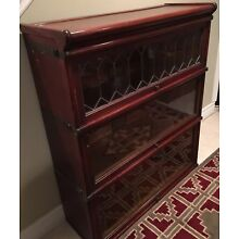 Antique Globe Wernicke 3stack Leaded Glass Mahogany Bookcase /Base Missing As Is