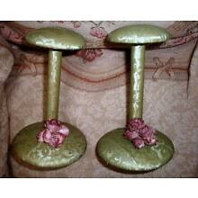 Pair 2 Vintage Hat Stands Sage Green Quilted Damask w Purple Flowers VG MCM