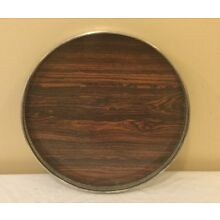 "Round Silver Plate With Laminated Wood Serving Tray Platter 14"" Diameter"