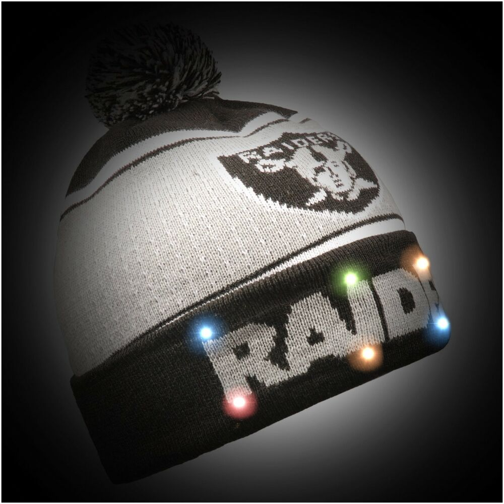 promo code fb1f2 81a81 Details about Oakland Raiders BIG LOGO Light Up Beanie New 2018 Style NFL  Winter Cap Hat