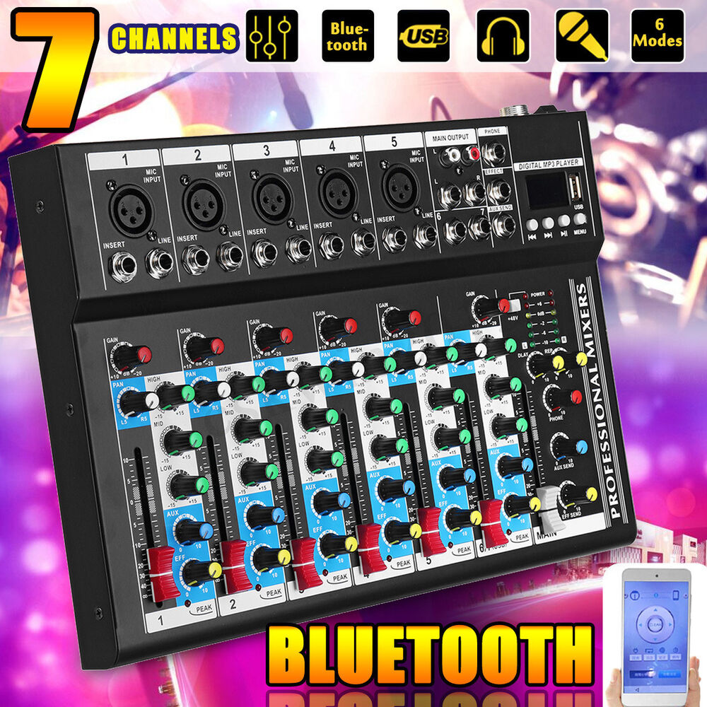 bluetooth 7 channel live studio stereo audio mixer sound mixing dj usb console 6132227393420 ebay. Black Bedroom Furniture Sets. Home Design Ideas