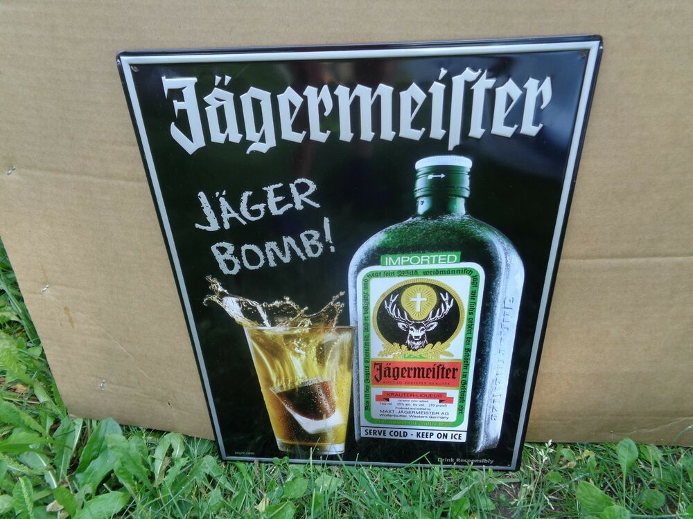 dc326a91b85 Details about Jagermeister JAGER BOMB TIN METAL SIGN - NEW! NEAT SIGN! 13  1 2 x 18 INCHES