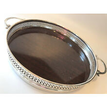 Vtg Antique Sterling Silver Gallery Pierced ROUND Handled Tray Liquor or Vanity