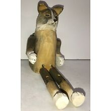 Vintage Dog Wood Carved Wooden Sculpture Statue Figurine Wolf Dog Jointed Legs