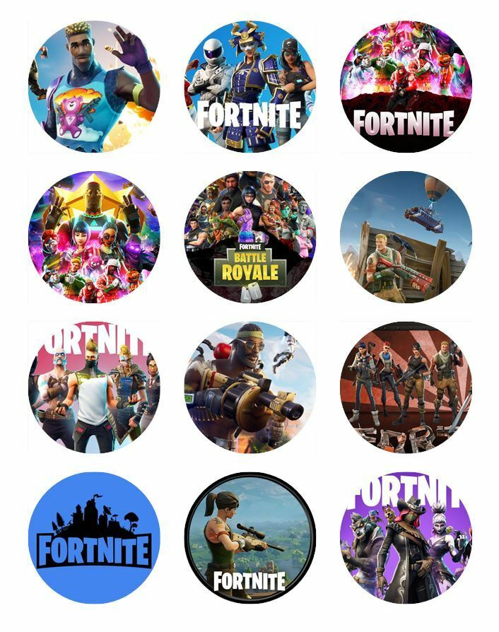 24 FORTNITE Cupcake Toppers Edible Wafer Paper Birthday ...
