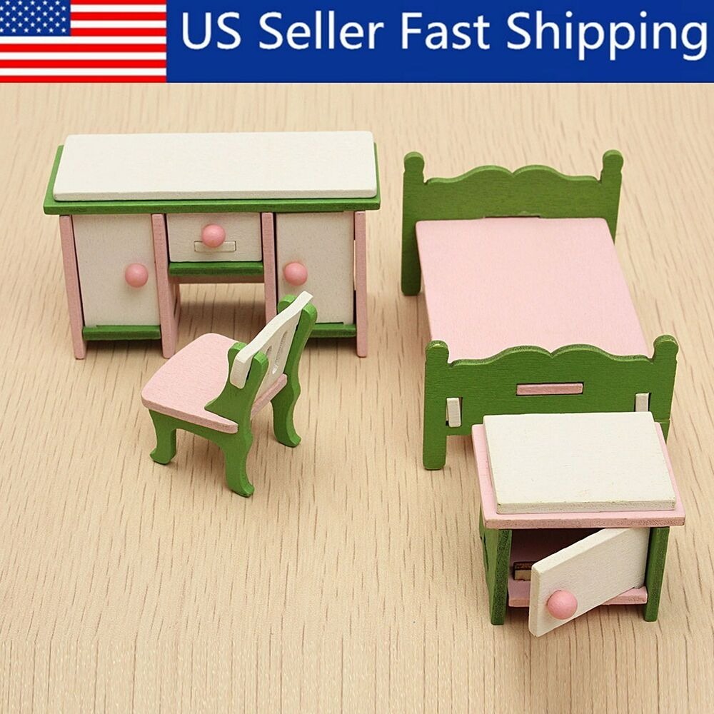 Details about wooden doll house miniature bedroom furniture set families role play toys gift