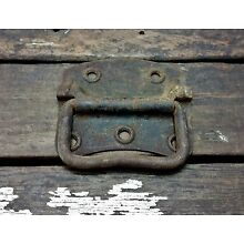 Vtg LARGE Old HEAVY Trunk Ammo Tool Box Metal Drop Pull Handle Industrial