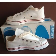 Converse, USA made, WHITE, Old Store Stock, in Original Box. Boys size 3 1/2