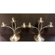 Pair of Reed & Barton Sterling Silver Mid Century Modern #X28  Candelabra