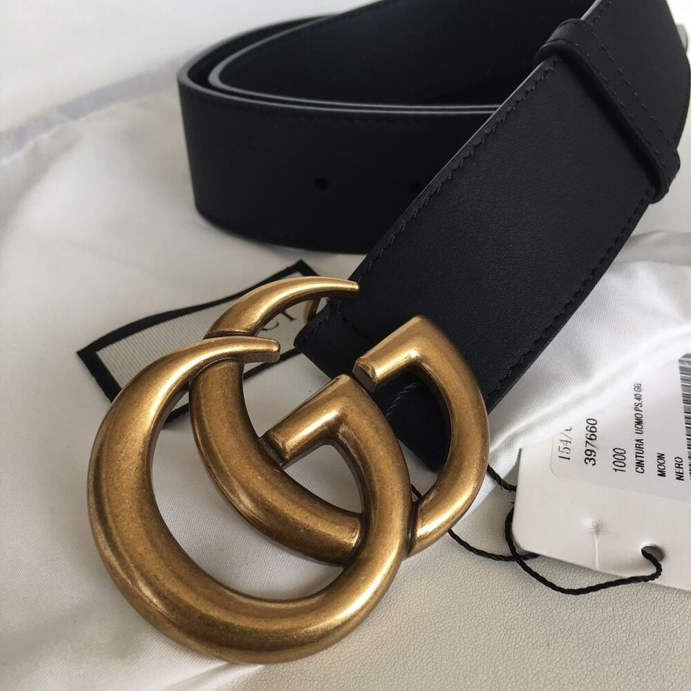 ce78aed9b Details about Authentic GUCCI Black 4cm Belt GOLD GG MARMONT Buckle size 95  / 38 fits 32-34