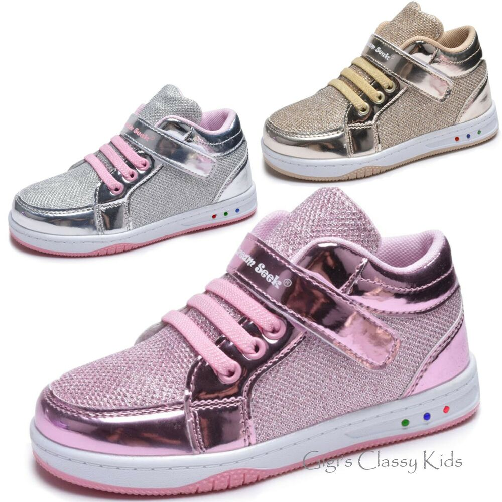 Girls Tennis Shoes High Top Glitter Lights Up Led Sneakers Kids