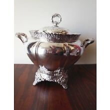EARLY *WEBSTER & SON* QUADRUPLE PLATE SOUP TUREEN *FLORAL & SCROLL DETAILS