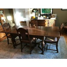 Jacobean Revival 8-Piece Oak Dining Room Set - Table, Chairs, Hutch