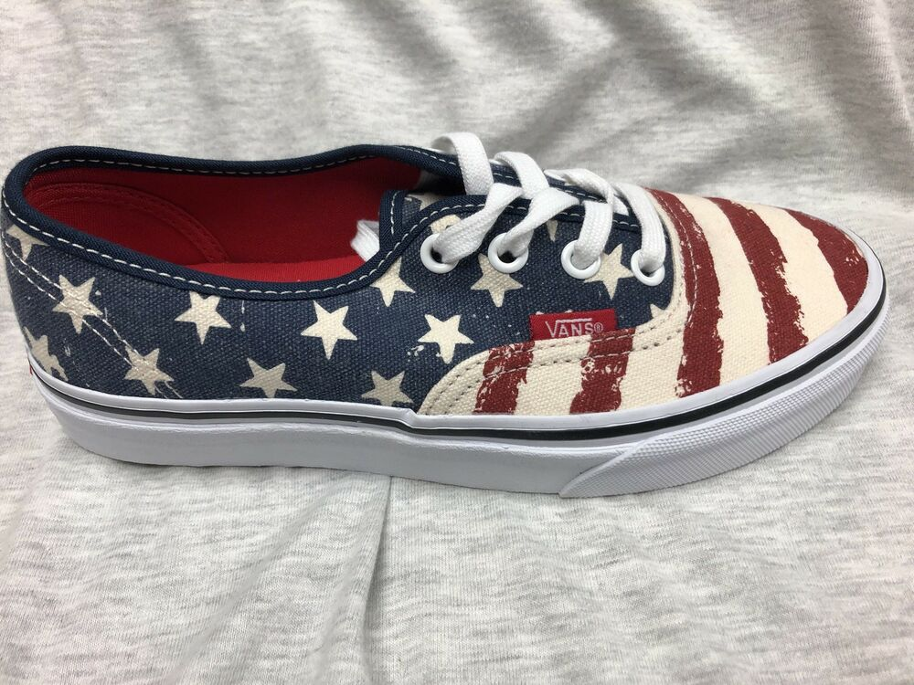 405889e1ee Details about Vans Off The Wall Authentic American Flag Stars And Stripes  Shoes New