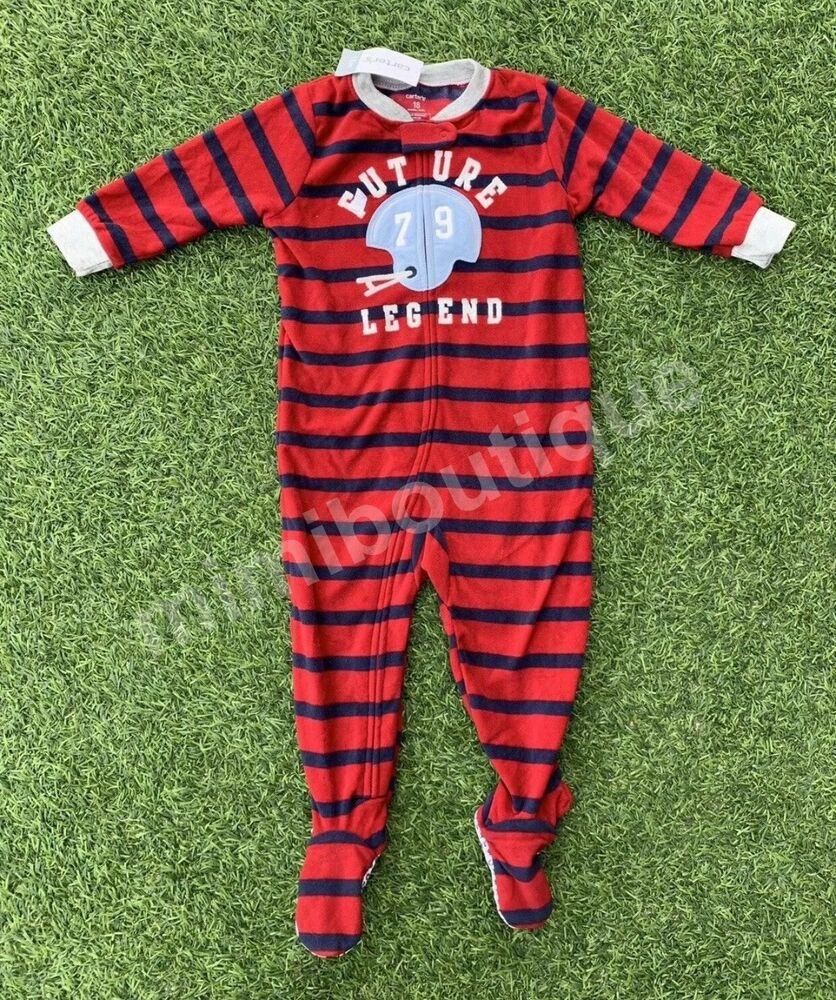 d2920fe0c Details about Carter's Boy One Piece Footed Fleece Pajamas Red Blue Future  Football Legend PJs
