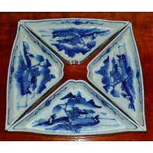 Four Antique 19th C Chinese Blue White Sweet Meat Plates Triangular