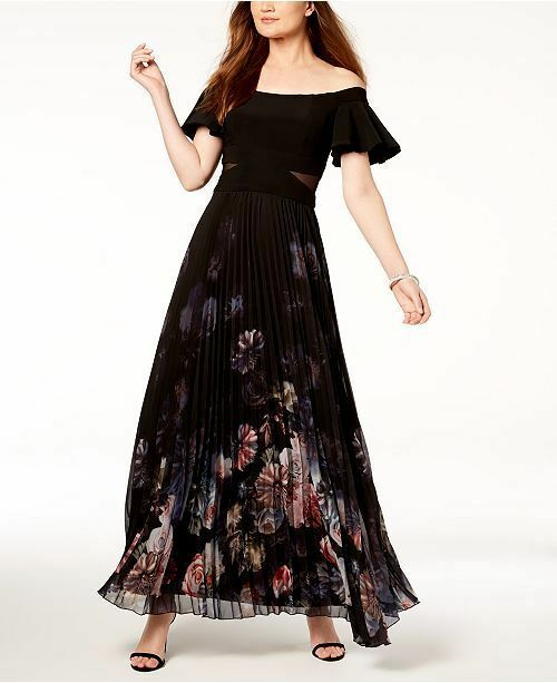 701ee1c4ed1 Details about  220 XSCAPE WOMENS BLACK OFF-THE-SHOULDER PLEATED SKIRT  A-LINE GOWN DRESS SIZE 4
