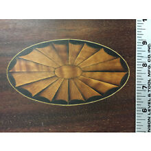 Antique Inlaid Oval Mahogany Serving Tray Part Repurpose Box Drawer Marquetry