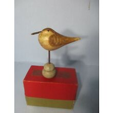 Folk Art Hand Carved WOOD PLOVER BIRD Figure with Inset Eyes
