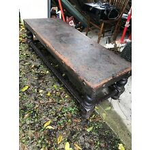 Antique tooled leather bench Peru ? USA, Peru, Lima Coat Of Arms
