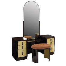 Machine Age Modern Industrial Design Deco Vanity and curved stool