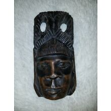 Vintage/ Antique Wooden Hand Craved Face Possible Maya or Aborigines