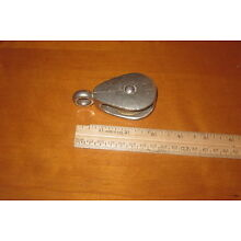 VINTAGE MINIATURE METAL PULLEY WITH BRASS REEL LOOK!!! 3.5 INCHES LONG!!!