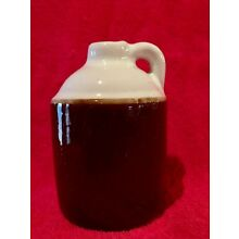 "Little Brown White Jug Jar Glazed Pottery  Stoneware Ceramic 4.5"" Tall"