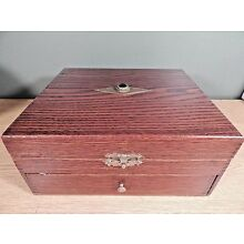 ANTIQUE OAK ARTS AND CRAFTS JEWELRY BOX WITH DRAWER AND JEWELED TOP