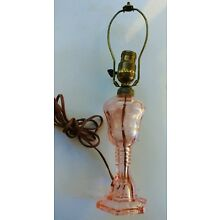 PINK DEPRESSION GLASS LAMP ETCHED DESIGN PRETTY FROM A 103 YR OLD LADIES ESTATE