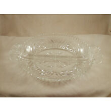 Vintage EAPG 2 Section Scalloped Serving dish Star Pattern Clear Glass 10