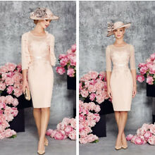 Nude Mother of the Bride Dresses 2 Pcs Outfit Lace Half Sleeve Knee Length US 2