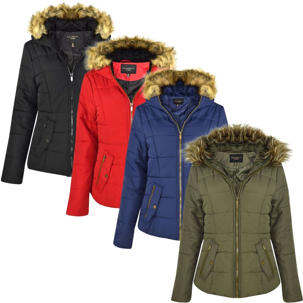9ee7af103b207 Details about New Womens Ladies Quilted Designer Padded Bubble Fur Hooded Puffer  Coat Jacket
