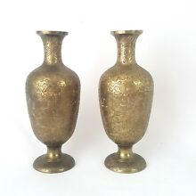 Vintage Brass Vases set of 2 Flower Design Used Good Condition Made India