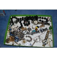 Lot of assorted watches costume jewelry beads craft supplies and more