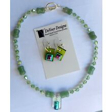 Handmade Fused Glass Jewelry Earrings Necklace Pendant Pale Green Faceted Beads