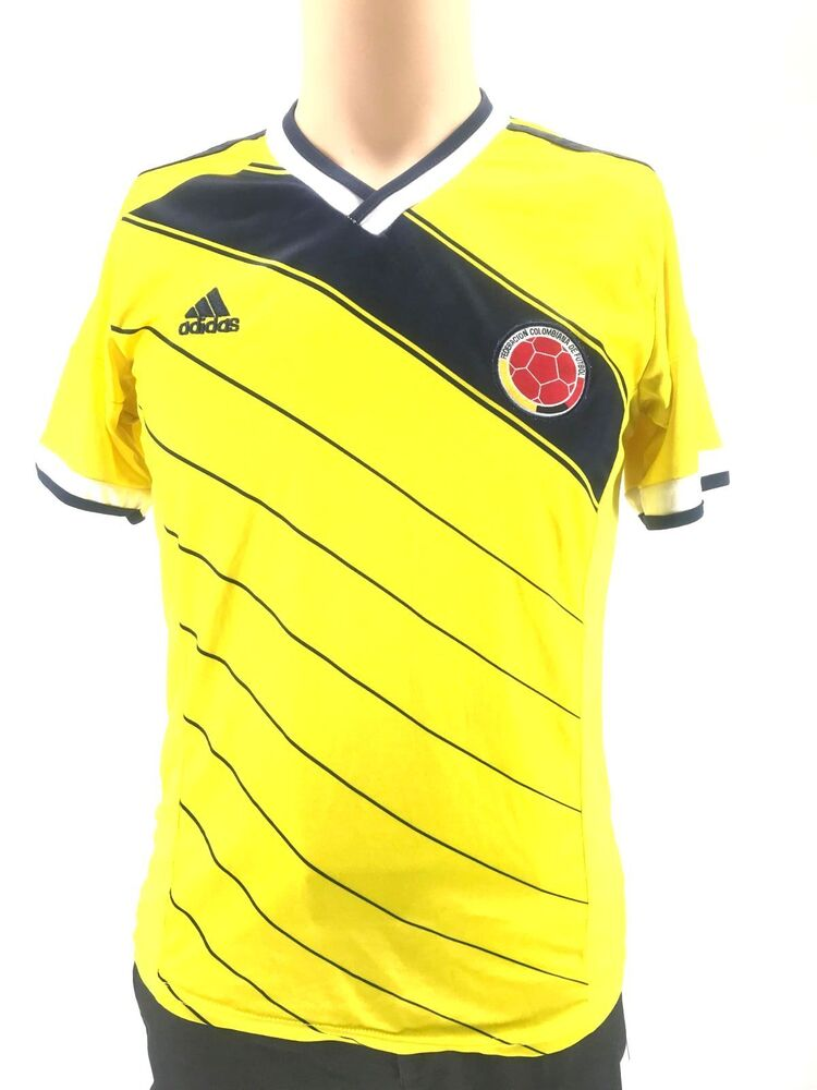 5c65c50cef2f Details about $115 ADIDAS Kids Boys YELLOW BLUE SHORT SLEEVE V NECK FUTBOL  COLOMBIA T SHIRT 16