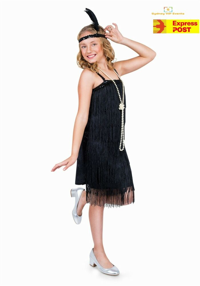 7f0762c34 Girls Black Flapper Costume Childs 1920s Charleston Fancy Dress ...