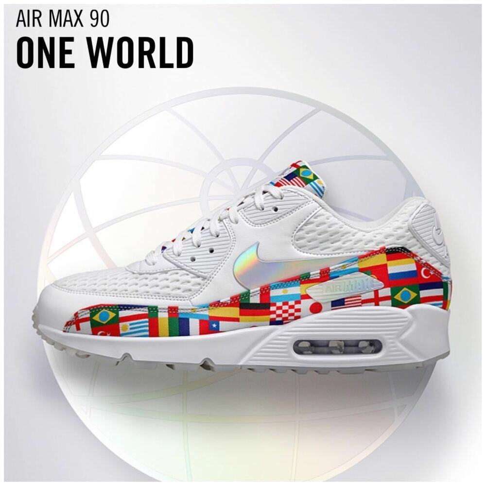 best loved 8952f fbfa7 Details about Nike Air Max 90 NIC International Flag Men's White Multi  WORLD CUP AO5119-100