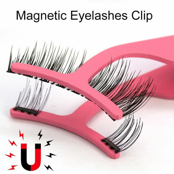 Magnetic False Eyelashes Tweezers Extension Tool Lashes Applicator Wider Clip