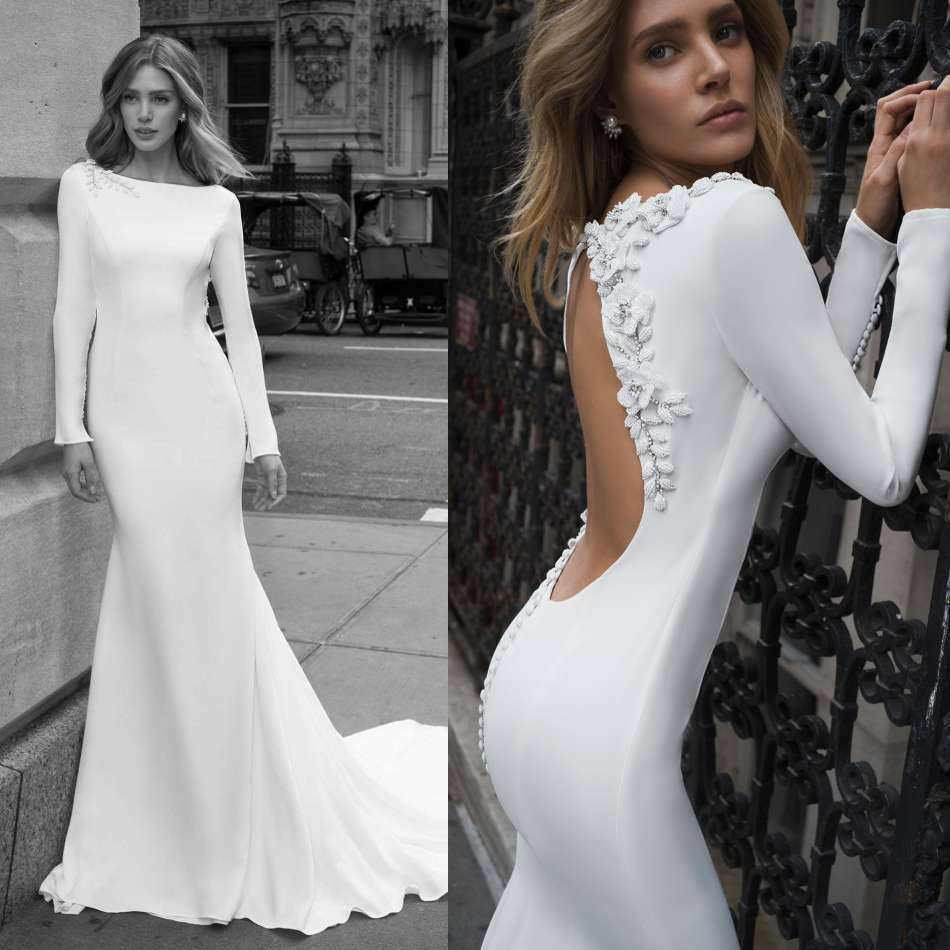 Wedding Gowns Ebay: Wedding Dresses Long Sleeves Boat Neck Backless Bridal