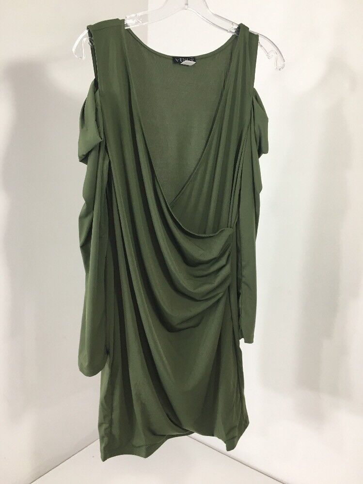 7cc3baaec5a Details about VENUS WOMEN S COLD SHOULDER RUCHED WRAP DRESS LARGE OLIVE NEW