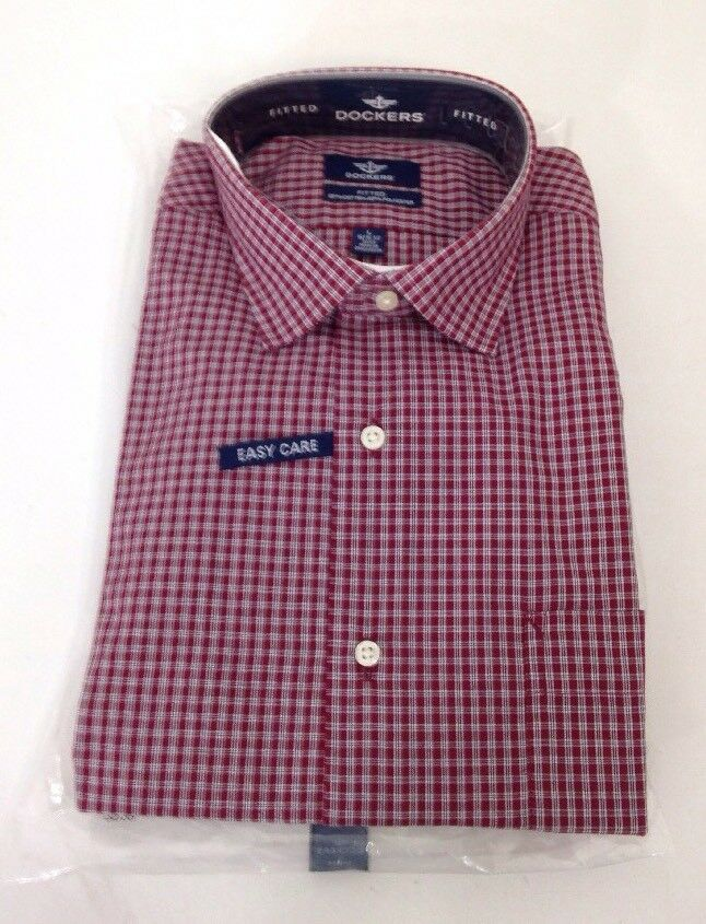 b80f9dfc32b Details about DOCKER S MEN S BUTTON UP LONG SLEEVE CHECK SHIRT BURGUNDY  LARGE NWT  42