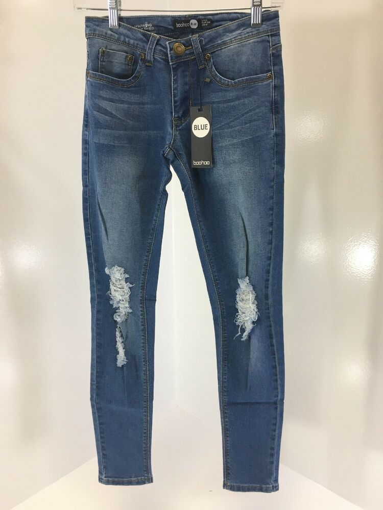 2b67d50f30e Details about BOOHOO BLUE WOMENS LOREN DISTRESSED RIP KNEE SKINNY TRIM UP  JEANS BLUE US:2 NWT