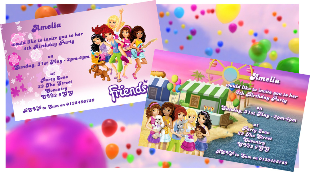 Details About Lego Friends Personalised Party Invitations