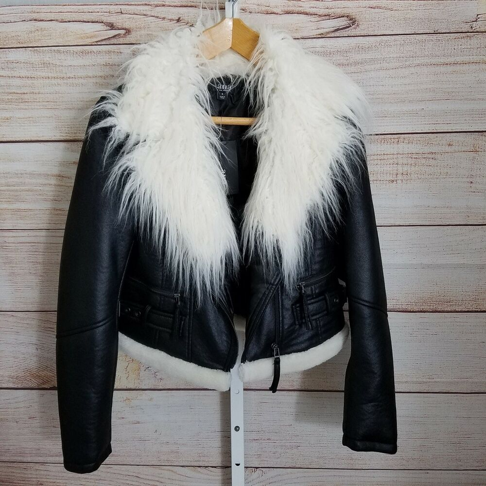 bb3781560e1b4 Details about Biker Jacket by ANA Black Shaggy Faux Fur Trim Motorcycle  Women s Small New  90
