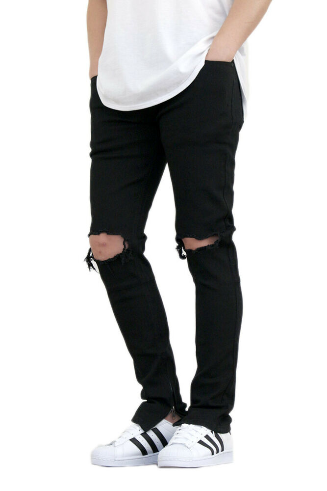 de14bc2a80c MEN S TWILL STRETCH KNEE RIPPED ANKLE ZIPPER SKINNY PANTS 2 COLORS KDNK  KD3119